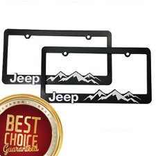 (2) Jeep-License-Plate-Frame- Wrangler-Rubicon-Cherokee- Renegade-Compass Jeep