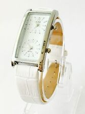 New Silver DUAL FACE White LEATHER strap Watch UK SELLER