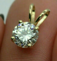 "2.91Ct Round cut Solitaire Diamond Pendant Solid 14K Yellow Gold FN 18"" chain"