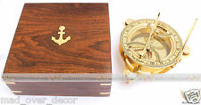 """ANTIQUE VINTAGE MARITIME BRASS CIRCULAR SUNDIAL COMPASS 4"""" WITH WOODEN BOX"""