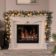9ft - 18ft Pre Lit Christmas Garland LED Lights Xmas Decoration Fireplace Wreath