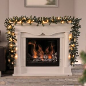 9ft - 18ft Pre Lit Christmas Garland LED Lights Xmas Decoration Fireplace Wreath