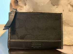 Coach Black Card Case Holder Zipped Signature Print + Leather Key Chain Ring