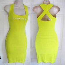 BEBE YELLOW LOGO CROSSBACK SHORT RIBBED TANK DRESS NEW XSMALL XS