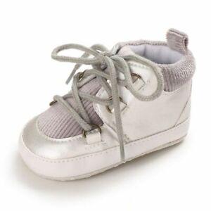 Baby Boy Cotton Shoes Mid-cut Lace-up Newborn Soft Sole Anti-slip Infant Walkers