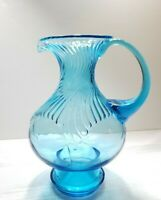 VINTAGE 60's  BLUE SWIRLED GLASS PITCHER WITH HANDLE