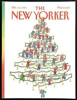 1985 Christmas Tree Design Shoppers Lines art December 16 New Yorker COVER ONLY