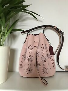 Coach Suede Mini Bucket Bag RRP £250 Laser cut out drawstring peony