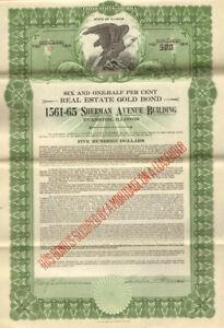 1561-65 Sherman Avenue Building > 1929 Evanston Illinois $500 bond certificate