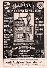EARLY 1900 'S AD RUSH ACETYLENE GENERATOR CO