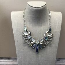 Chole And Isabel Blue Rhinestone Statement Necklace In Silver Tone Metal