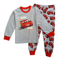 2Pcs Kids Baby Boy Cartoon Cars Pjs Pyjamas Long Sleeves Tops+Pants Outfits Set