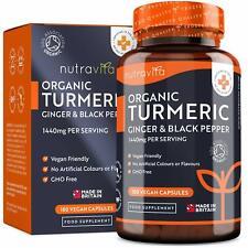 Curcuma Bio 180 Capsules Complément Alimentaire Curcumine Vegan Poivre Noir Ging