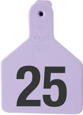 """Z-Tag Calf Tag Short Neck 2-3/8"""" W x 3-1/4"""" H Hot-Stamped #176-200 Purple 25ct"""
