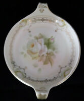 Antique Prussia Crown B Royal Rudolstadt White Rose Snack Nut Candy Handle Tray