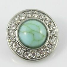Noosa Style Rhinestone Turquoise 18mm Snap on Chunk Button