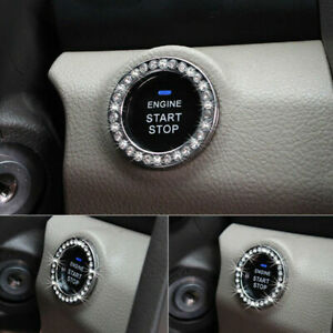 5PCS Car Bling Decorative Accessories Switch Button Start Diamond Decor Ring