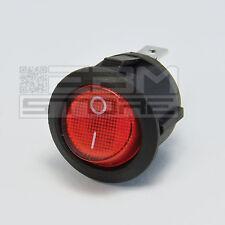 interruttore rocker ROSSO rotondo luminoso da pannello 6A 250Vac - ART. EO01