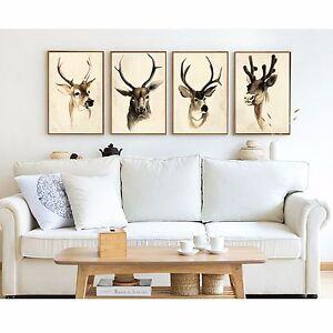 Framed Canvas decoration Retro Deer head leather style vintage home art modern