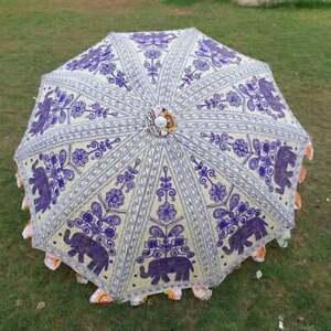 Indian Hand Embroidered Elephant Garden Umbrella Beach Sun Protective Parasols
