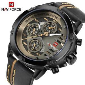 NAVIFORCE Waterproof Leather Wrist Watch For Men
