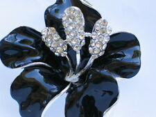 SILVER RHINESTONE TROPICAL ISLAND BLACK LILY HIBISCUS FLOWER PIN BROOCH JEWELRY