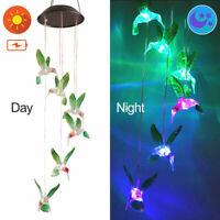 Hanging Wind Chimes Bird Solar Powered LED Light Garden Hummingbird Lamp R7H3