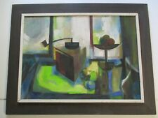 MID CENTURY STILL LIFE PAINTING  ABSTRACT CUBIST CUBISM EXPRESSIONISM LARGE OIL