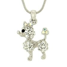 """Clear New Pendant Necklace 18"""" Chain Poodle W Swarovski Crystal Dog Puppy Pet"""