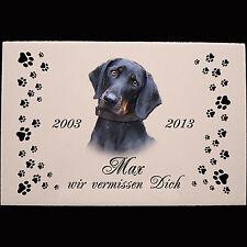 Tiergrabstein Grabstein  Keramik Porzellan Hund-p03 ► Ihr Foto + Text ◄ 30x20 cm