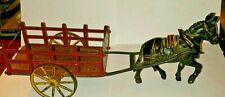 Antique Vintage Wilkins cast iron donkey pulling Stake cart toy