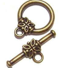 5728FY Antiqued Brass Toggle Clasp, 14mm, Round with  Flower, 10 sets.