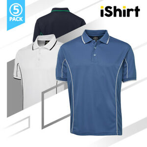 5PC ADULT POLO SHIRT SHORT SLEEVE 100% POLYESTER PIPING COOL DRY POLO 160GSM