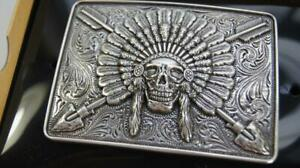 Ariat Western Mens Rectangle Belt Buckle Chief Skull Arrowheads Silver A37009