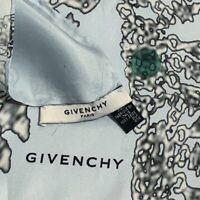 GIVENCHY PARIS CAMOUFLAGE BLUE LARGE HAND ROLLED Silk Scarf 34 INC MADE IN ITALY