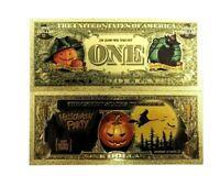 Inhabituel Plaqué Or Halloween Un Dollar Billets de Banque A