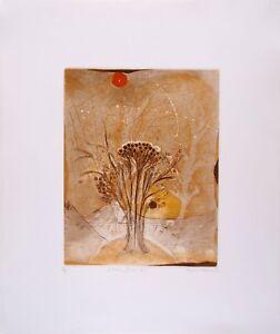 Rene CARCAN s/n Etching Aquatint L'arbre fleur Receuil Les arbres en vacances 80