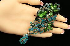"""crystal Rhinestone Brooch pin pendant H01 5"""" design leaf emerald green teal blue"""