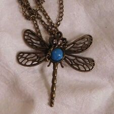 """Necklace Dragonfly Antique Brass Chain 26"""" with Turquoise center"""