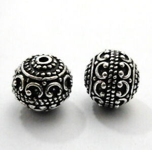 8 PCS 12MM SOLID COPPER BALI BEAD ANTIQUE STERLING SILVER PLATED 365 FUL-286