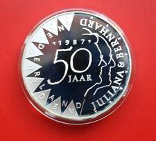 Niederlande-Netherlands: 50 Gulden 1987 Silber, KM# 209, PP-Proof, #F 0336