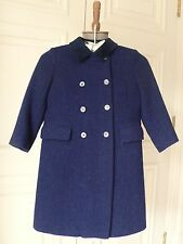 Superb Vtg HARRIS TWEED Boys/Girls Size 6 Navy Tweed Wool Coat / Wool Lining UK