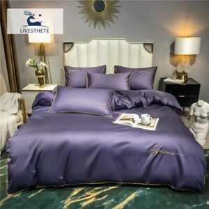 Women Purple 100%Cotton Bedding Set Printed Duvet Cover Flat Sheet Bed Linen Set