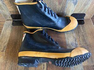 NEW Uniroyal Fireman Shoes Black Yellow Steel Toe Firefighter Boots Men's 11