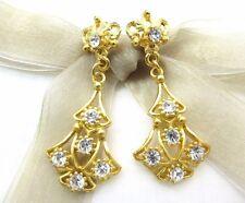 Swarovski Element Crystal Rhinestone Earrings 18K Gold Plated Dangling Crown