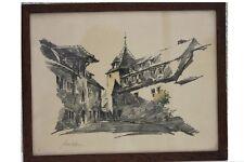 ROBERT KUVEN (1901-1983) - Ortsansicht en Alsace Original-LITHOGRAPHIE (2)