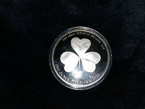 🌲 LUCKY IRISH SHAMROCK 1 OUNCE .9999 SILVER COIN 2015 DUBLIN ASSAY IRELAND 🎄
