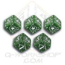 Q-WORKSHOP Dice - Set de 5 Mini d6 American Battle (Vert/Blanc) *NEW*