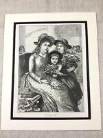 1887 Stampa Vittoriano Lady Bambini Ragazze Fiore Basket Antico Originale