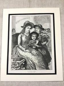 1887 Print Victorian Lady Children Girls Flower Basket Antique Original
